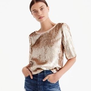 NEW J.Crew rose gold sequins cropped boxy top 12T